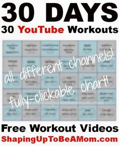 FREE WORKOUT VIDEOS! Need a workout boost? Here is a clickable calendar of 30 free fitness videos, all from different YouTube channels! Try them all and bookmark your favorites so you can go back and try their other routines!
