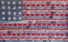 Ann Carrington flag - recycled blue jeans and braid