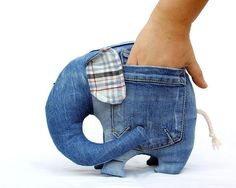 Left Pocket Elephant stuffed toy for kids by AndreaVida. via Etsy. Great way to repurpose old jeans, how cute. Artisanats Denim, Jean Crafts, Tooth Fairy Pillow, Denim Ideas, Sewing Toys, Creative Crafts, Creative Ideas, Diy Clothes, Sewing Projects