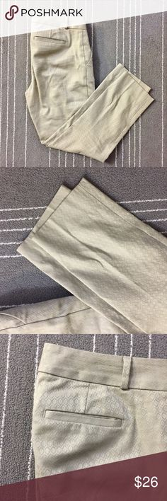 """NWOT Banana Republic Hampton pant tan self texture NWOT Banana Republic Hampton pant tan self texture. It's in new condition. Only worn once. No flaws or imperfections. Size is 2 with waist measurements of about 15"""". Ask if have any other questions. Banana Republic Pants"""