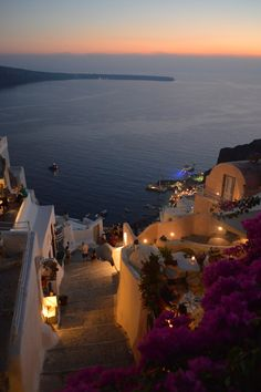 Night fall in Oia, Santorini, Greece