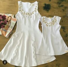 Madre  e hija Mother Daughter Outfits, Mommy And Me Outfits, Mom Daughter, Kids Outfits, Beautiful Dresses, Nice Dresses, Girls Dresses, Father And Son Clothing, Matching Family Outfits