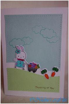 Thinking of my dear friends. Happy Easter!!  Mama Elephant Sew Fancy creative die. MFT Somebunny stamps set and dies. Lawn Fawn Stitched Hillside Borders