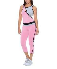 Look what I found on #zulily! Pink & Gray Cutout Tank & Capri Leggings #zulilyfinds