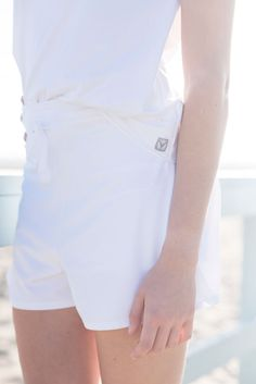 Court Short White and Neck Protector Tie-Tank White Tennis Whites, Activewear, White Shorts, Cover Up, Tie, Workout, Country, Fabric, How To Wear