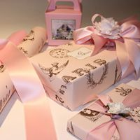such pretty wrap!!  [would be cute for a baby girl shower gift, and lends an added layer of sophistication w/out the stereotype baby gift wrap (not that there aren't some lovely, understated ones available)]