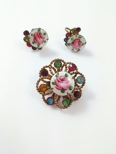 Vintage Copper Tone Brooch and Earring Set Painted Rose on Enamel Center w/ Rhinestone Accents