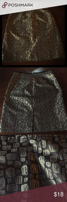 "Gorgeous metallic skirt, worn once. Like new! Festive black & gold metallic skirt. Perfect for upcoming holiday parties. Back zip and vent, fully lined, waist 15.5"" across, 21"" long. LOFT Skirts"