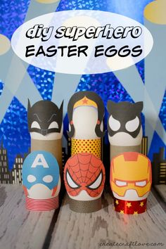DIY Superhero Easter Eggs complete with free printable. Turn your Easter eggs into superheros Egg Crafts, Easter Crafts For Kids, Easter Ideas, Easter Activities, Easter Recipes, Easter Hat Parade, Easter Egg Designs, Easter Printables, Free Printables