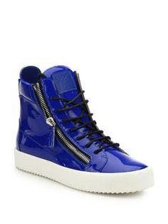 GIUSEPPE ZANOTTI Double-Zip Patent Leather High-Top Sneakers. #giuseppezanotti #shoes #sneakers
