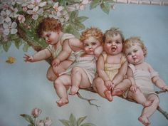 For sale at Victorian Rose Prints on Ruby Lane Frances Brundage Babies Butterfly Apple Blossoms Print Chromolithograph c1890s Child Children Baby Half Yard Long Antique