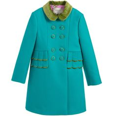20% off your order with code CSDG1RC https://www.childrensalon.com/new-in/#a_aid=51f456f914eb5 In a beautiful shade of teal blue, this impeccably tailored coat for girls is designed by luxury Italian brand, Gucci. Warm, elegant and vibrant, this delightful winter coat is double-breasted, with velvet buttons and a matching velvet collar and bow in contrasting green. Scalloped trims and a regal pink satin lining, printed with leopards, adds a fantastic finish.