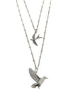Silver Bird Long Necklace