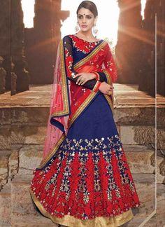 Red And Blue Embroidery Thread Work A-Line Designer Wear Lehenga Choli http://www.angelnx.com/Lehenga-Choli/Wedding-Lehenga-Chol