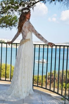 Ivory Lace Bohemian Wedding Dress Long Bridal от SuzannaMDesigns