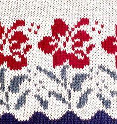 Pretty Flowers Jaquard pattern / SW: Will blend better in a woolen yarn