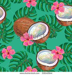 Seamless tropical pattern with coconut and flowers, monstera leaves vector background. Perfect for wallpapers, pattern fills, web page backgrounds, surface textures, textile