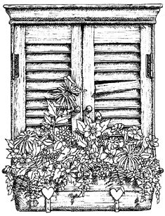 Impression Obsession Cling Mounted Rubber Stamp - Shuttered Window Box,$9.29