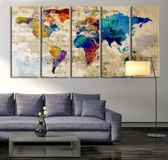 Large World Map Watercolor Push Pin, Push pin travel wolrd map wall ...