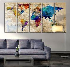 Old Paper Watercolor World Map Wall Art Canvas Print, No:067