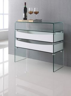 CONTEMPORARY MODERN HIGH GLOSS WHITE AND GLASS CONSOLE TABLE WITH STORGE