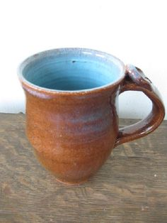 Blue Coffee.   Large brown and blue coffee mug or beer stein by rjshultzman, $15.00