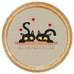 Cross Stitch Pattern PDF halloween cat with por HappyStitches4You