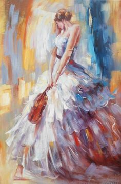 """Modrest ADC8326 Girl With Violin Oil Painting On Canvas VGSHD-ADC8326 Product : 16259 Features: - Violin Oil Painting Dimension: - Painting : W59"""" x D39X H2"""""""
