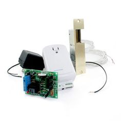 """""""I/O Linc - INSTEON Remote Control Door Strike Kit"""" - looks like this can work as an electric strike + wifi for cell-phone based door control."""