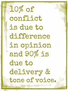 10% of conflict is due to difference in opinion and 90% is due to delivery & tone of voice. Effective communication is key for a healthy relationship.