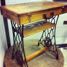 Old Amish Toolbox and Old Singer Sewing Machine Table