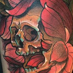 skull flower tattoo #detail #neotraditional