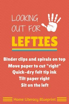Five handy tips to help young left-handed writers. Needed this long ago for my lefty! Teaching Tools, Teaching Kids, Kids Learning, Learning Support, Outdoor Learning, Writing Activities, Preschool Activities, Classroom Organization, Classroom Management