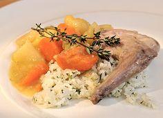 Dušený králík se zeleninovou omáčkou — Kluci v akci — Česká televize Pork, Meat, Chicken, Kale Stir Fry, Pork Chops, Cubs