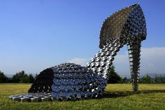 Giant Shoes Made of Pots, Pans, and Lids