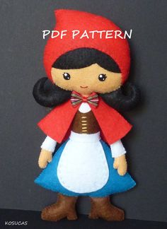 PDF pattern to make a felt doll inspired in little Red Riding Hood.
