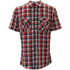 Skunkfunk Txuluit Check Short Sleeve Shirt ($48) ❤ liked on Polyvore featuring tops, men, boys, shirts, red button down shirt, red shirt, checked shirt, red top e button down top