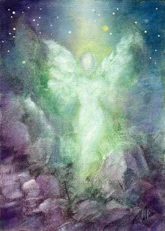 Marina Petro ~ Adventures In Daily Painting: Angel Art Prints by Marina Petro Archangel Raphael, I Believe In Angels, Angels Among Us, Angels In Heaven, Guardian Angels, Angel Art, Art Design, Illustration, Fine Art