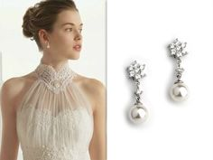 (Right: Pearl CZ Earrings)