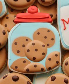 """These cookie jar cookies are new take on last week's candy jars. My cookie jar cookies are actually """"Frankencookies"""". Cookies Decorados, Galletas Cookies, Milk Cookies, Fancy Cookies, Iced Cookies, Cute Cookies, Royal Icing Cookies, Yummy Cookies, Cookies Et Biscuits"""