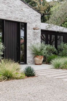 West Coast style meets modern farmhouse in this unforgettable LA home Exterior Design, Interior And Exterior, Interior Doors, Outdoor Sconces, Outdoor Decor, Amber Interiors, Cabana, Architecture, Curb Appeal