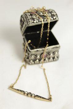Bar crystal rhinestone pendant Delicate bar necklace by NoaZen