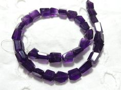 Natural African Amethyst Faceted 7-10 MM | Amethyst Tumbled | Amethyst Nuggets | Purple Amethyst Beads | 10 Inch Strand | Gemstone Supplier