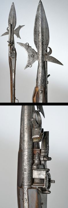 A very scarce halberd with wheel-lock pistol !!    provenance: Germany dating: second quarter of the 17th Century.