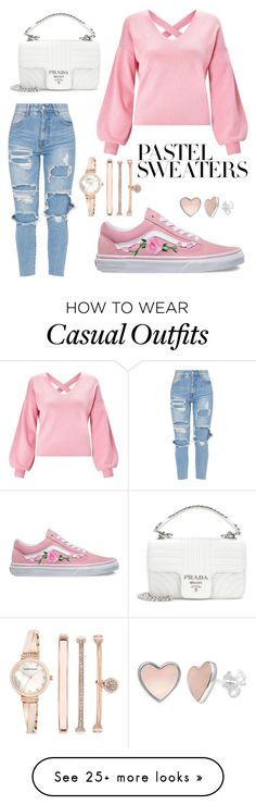 """casual weekend"" by saegerlisa on Polyvore featuring Miss Selfridge, Vans, Anne Klein, Prada and pastelsweaters"