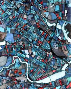 Carland Cartography creates hand drawn artwork of various city street maps and renders the artwork as fine art prints. Map Painting, Floor Painting, Abstract City, City Maps, Cartography, Map Art, Art Plastique, Fine Art Paper, Art Images