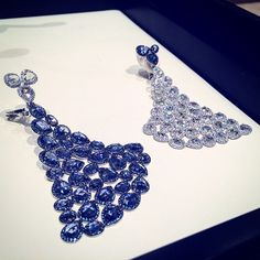 Exquisite De Grisogono earrings spotted today Rose cut sapphires and diamonds.