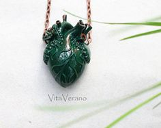 Anatomical heart necklace Green Heart Pendant Green Heart Necklace Anatomical Heart Anatomy Jewelry valentines day gift