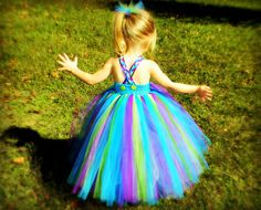 Peacock Inspired Tutu Dress Blue Top Vibrant NB-8