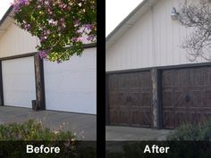 Since I hate our standard metal garage door so much. I think I might need to faux-it-up, and do a faux wood finish on it to coordinate with the mahogany door and shutters! Metal Garage Doors, Metal Garages, Garage Door Design, Outdoor Projects, Outdoor Ideas, Diy Projects, Faux Wood Paint, Finished Garage, Garage Door Makeover